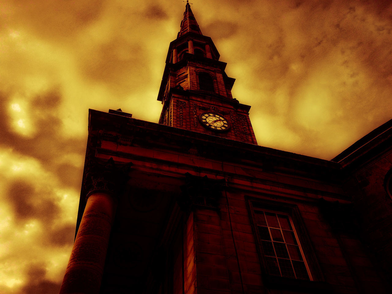 architecture, built structure, building exterior, low angle view, tower, clock tower, sky, cloud - sky, no people, outdoors, religion, history, sunset, bell tower, place of worship, spirituality, clock, travel destinations, day, city