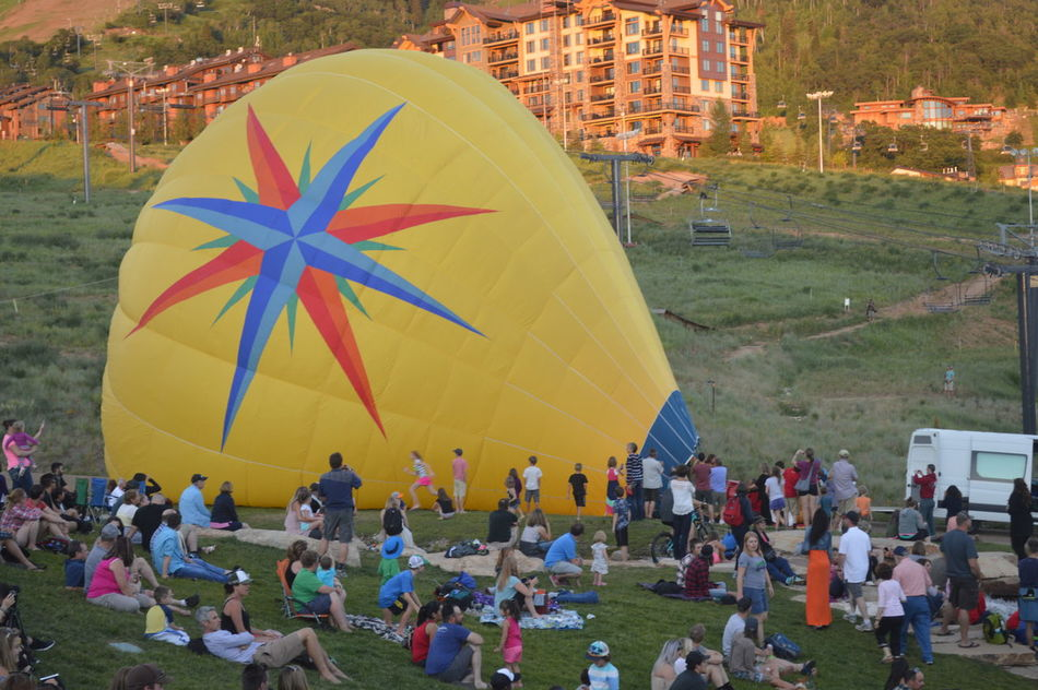 Crowd Hot Air Balloon Hot Air Balloon Festival Multi Colored Ski Resort  Small Town Event Steamboat Steamboat Springs Summer Summer Event Showcase July