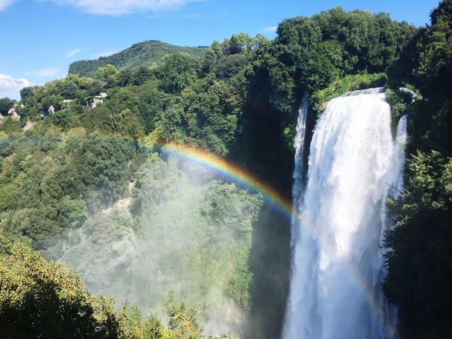 ShotoniPhone6s Rainbow Beauty In Nature Multi Colored Tree Scenics Motion Waterfall Nature Water Idyllic Flowing Water Sky Lush Foliage Growth Majestic Day Tranquil Scene Mountain Flowing Non-urban Scene