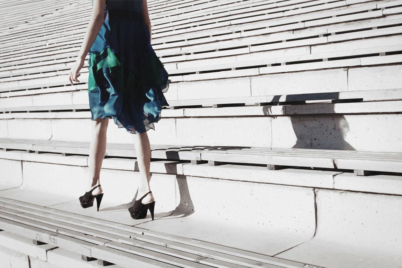 Legs Work Blue Cat Walk Dress Fashion Fitness High Heels Legs Linas Was Here Shadow Stairs Urban White Winter