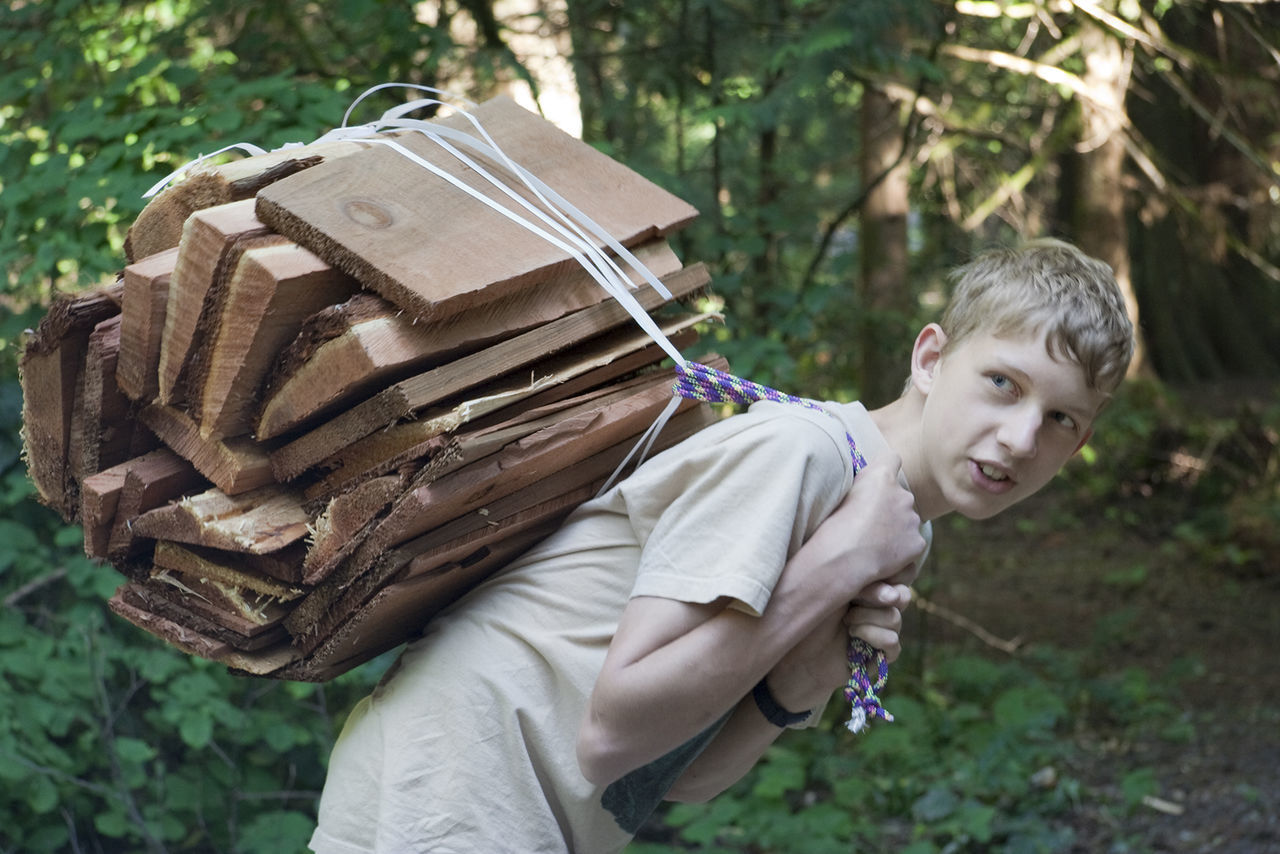 Boy carrying Firewood – Vancouver Island, British Columbia, Canada Boy Camping Carrying Challenge Child Childhood Firewood Fun Heap Kid Males  One Boy Only One Person One Teenage Boy Only Over-burdened Rural Scene Side View Smiling Stack Strength Teen Teenage Boy Teenager Waist Up Working
