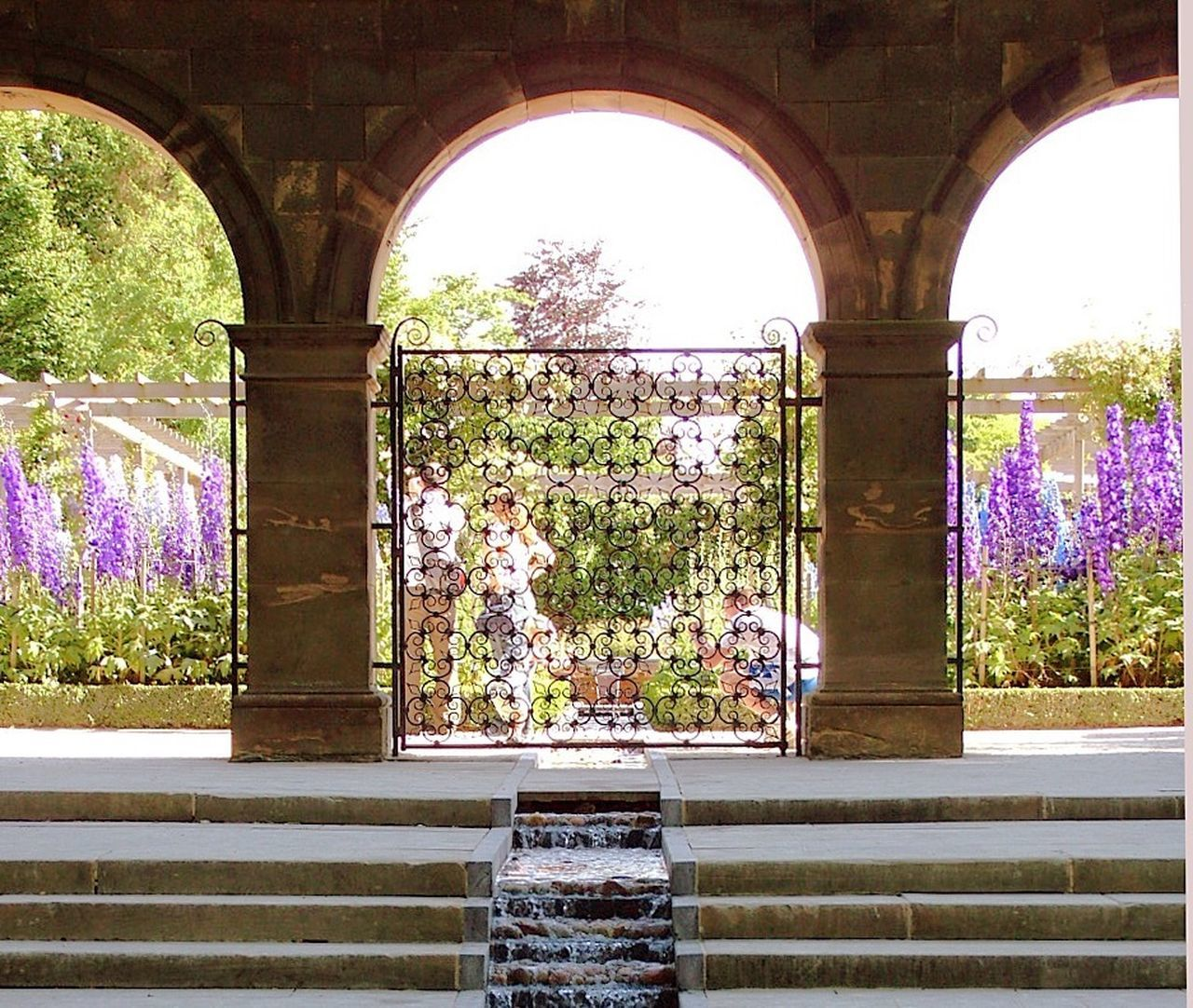 Arch Delphiniums Garden Garden Architecture Steps Wrought Iron Gate