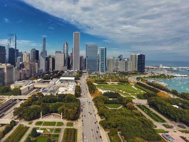Downtown Chicago Aerial View Architecture Building Exterior Chicago City City Life Cityscape Cloud - Sky Day Development Downtown District Drone  Dronephotography Growth High Angle View Modern No People Office Building Exterior Outdoors Sky Skyscraper Travel Destinations Tree Urban Skyline USA First Eyeem Photo