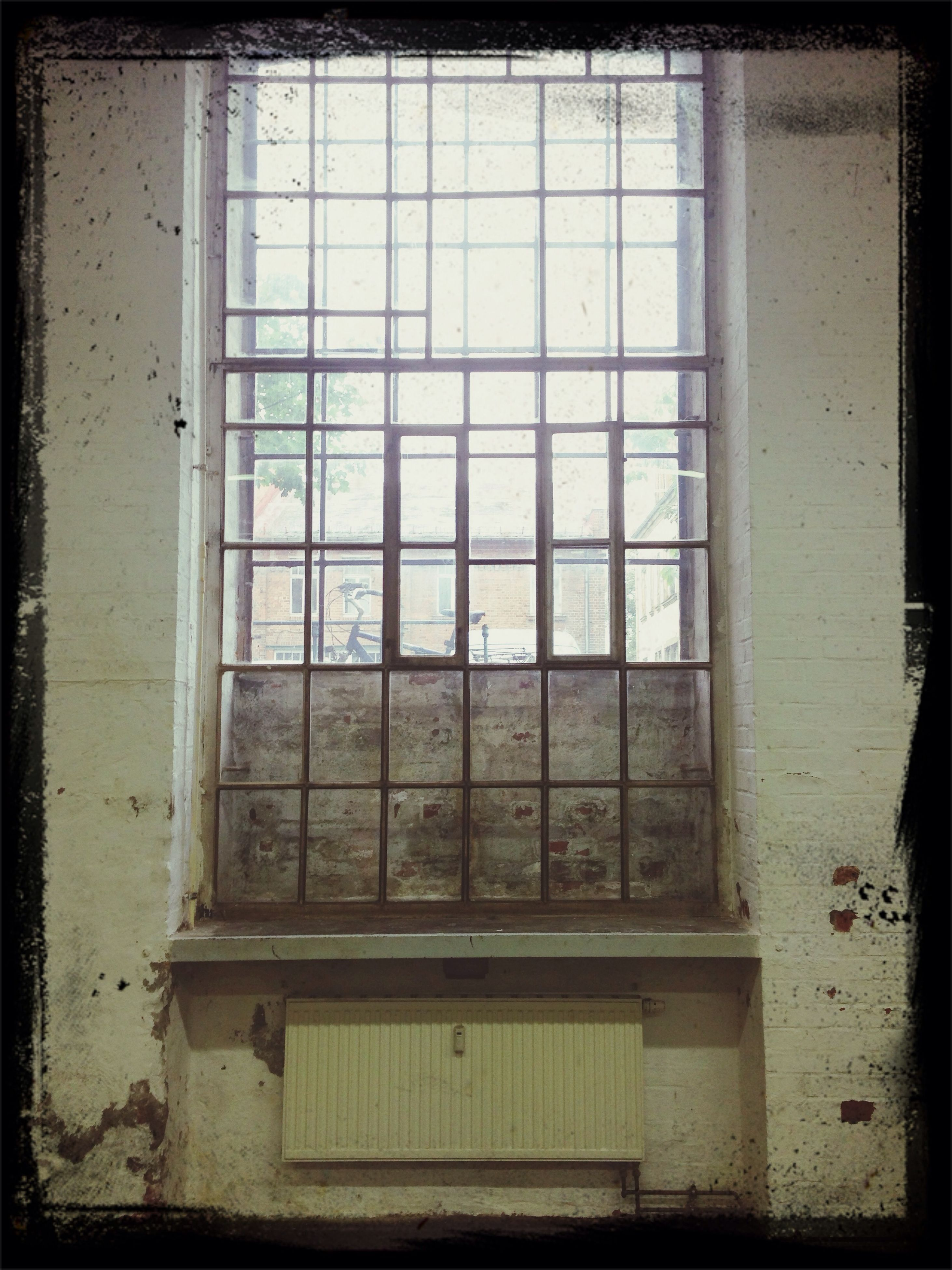 window, indoors, architecture, built structure, glass - material, house, transfer print, building exterior, auto post production filter, transparent, abandoned, day, closed, home interior, no people, wall - building feature, residential structure, window frame, wall, old