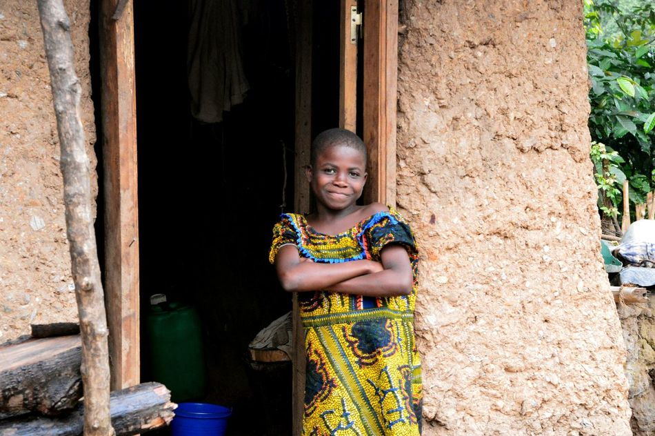 Africa African Child Girls Looking At Camera Portrait Togo Village