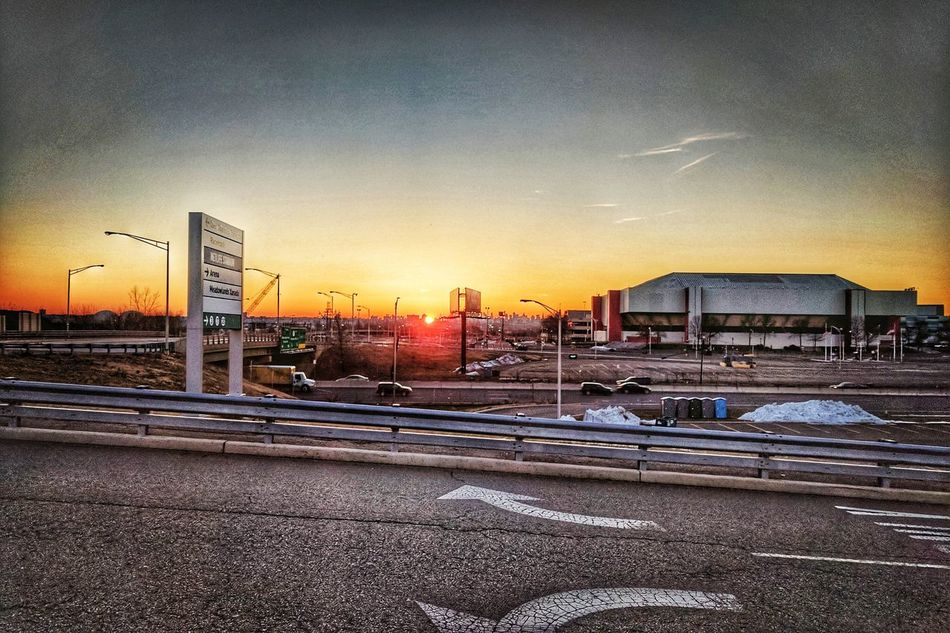 Sunrise over the city from the Meadowlands... Newjersey NYC Sky Meadowlands Izodcenter Sunrise