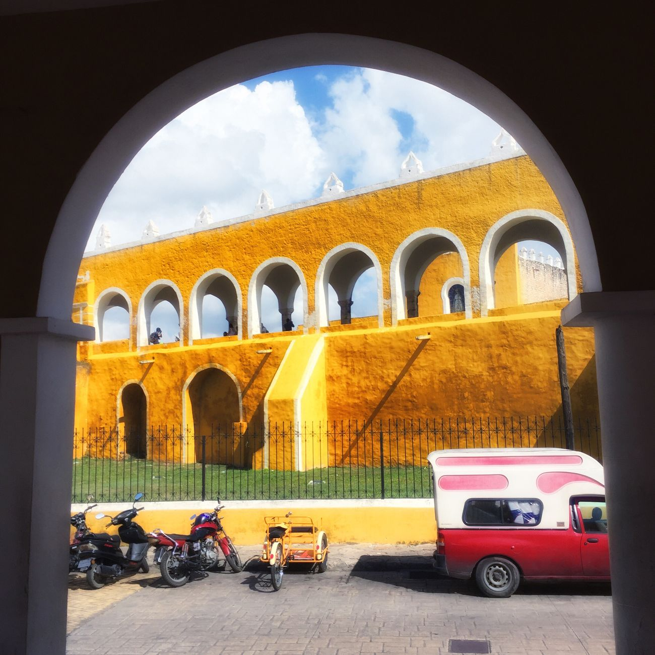 Izamal Izamal Yucatan Church Mexico Yúcatan Yucatan Mexico Yellowcity Yellow Color Window Window View Window Frame Architecture Built Structure Parking Building Exterior No People Architecture Iphoneonly IPhoneography Outdoors History