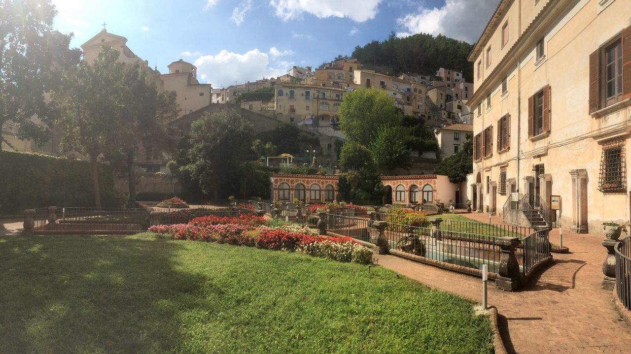 Italy Italy Town Garden Park Flowers Trees Buildings Romantic Sky Sunlight Idyllic Scenery Idyllic Charm Grass Path Pathways Windows Hill Warm Good Weather