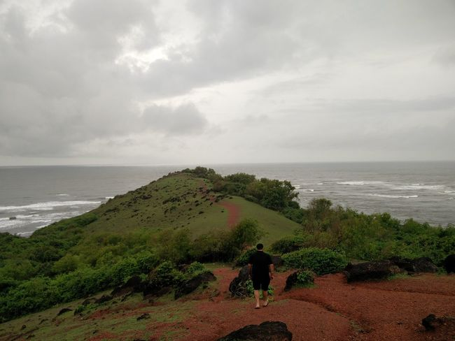 On The Way Adventure Enjoying Life Walking Around Walking Alone... Walking Away On The Path Ocean Ocean View Mountain Greenery Cloudy Cloudy Sky Beautiful Nature Beautiful Day Beautiful View Nature Nature_collection Alone Alone Time Single Life  End Of The Road Goa Showcase July Eyeemphoto