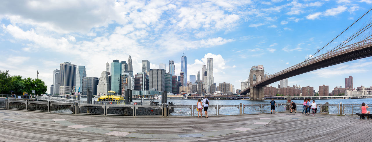 Brooklyn Bridge  Cityscape Manhattan New York City USA Downtown District Scenics Skyscraper Urban Skyline