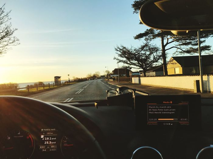 Morning drive Transportation Car Mode Of Transport Land Vehicle Road Windshield Tree Vehicle Interior Sky No People Car Interior Dashboard Day Close-up Outdoors