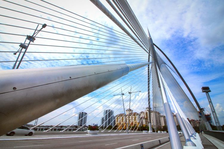 Bridge - Man Made Structure Connection Transportation Built Structure Architecture Sky Low Angle View Suspension Bridge Engineering Cable-stayed Bridge Outdoors Day Bridge Steel Cable No People