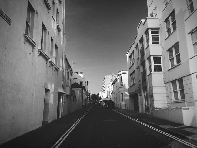 Afternoon Tranquility Urban Walking Around Streetphotography Photography Blackandwhite Brighton Lines Road Building Perspective