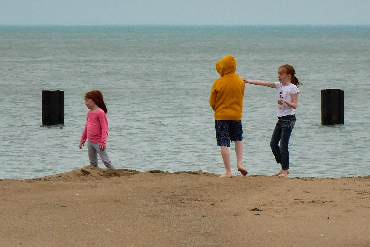 off season at the lakefront Beach Chicago Lake Front Children Playing Cold Days Getting Away From It All Leisure Activity Off Season Sand Shore Showcase March