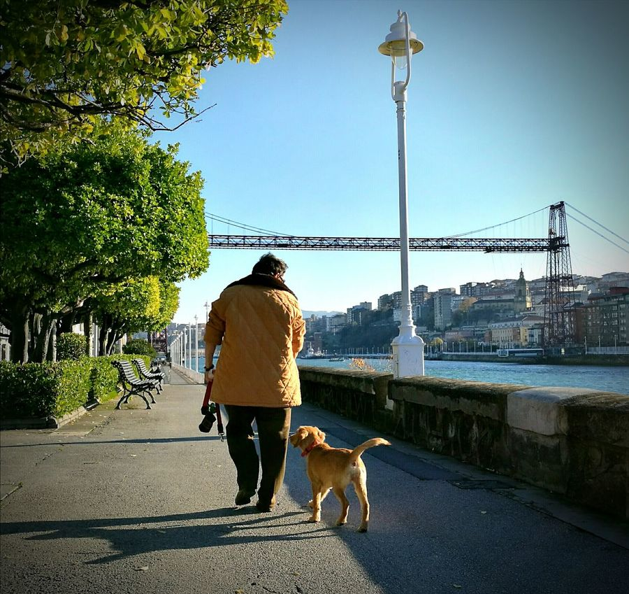 Grandma & Laket 🐶👵💙💚 Enjoy The New Normal Moments Of Life Instants Instantshot Love Puppy Grandma Outdoors Sky Beautiful Day Dog Trees And Sun Trees And Sky Perfect Couple Las Arenas Bizkaiko Zubia Puente Colgante Getxo Bizkaia Basque Country Euskal Herria