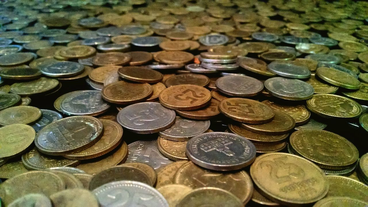 coin, wealth, finance, currency, savings, large group of objects, gold colored, number, metal, no people, backgrounds, indoors, stack, close-up, day