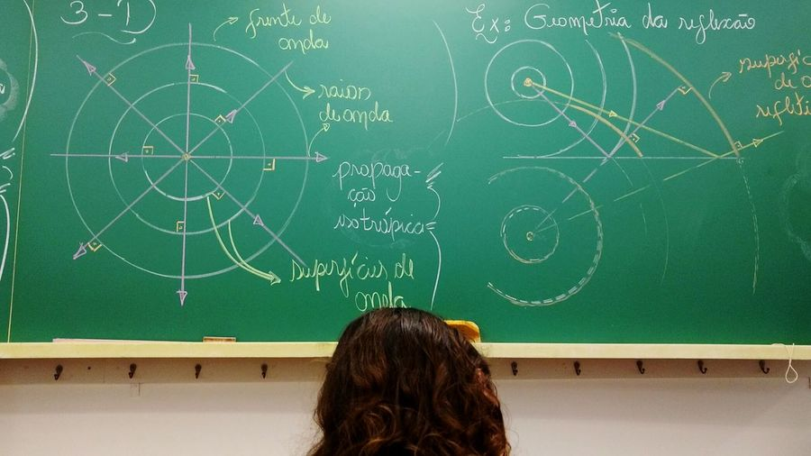 Blackboard  Education Classroom Mathematics Formula Learning Rear View Teaching Indoors  Student Complexity University Solution One Person Young Adult High School Adult Human Body Part Headshot Studying