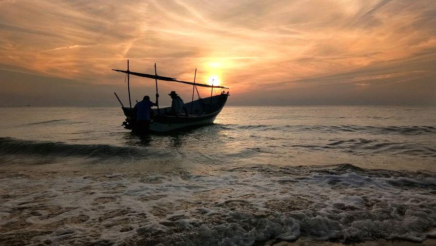 Fishing boat Fisherman Sea Outdoors Landscape Wave Sky Boats And Sea Boatman Sunrise Silhouette