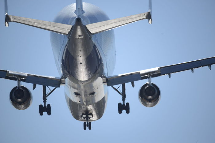 Airplane Beluga Blue Sky Composition, Finkenwerder Landing Long Shot Low Angle View Motion Patterns Tecnology