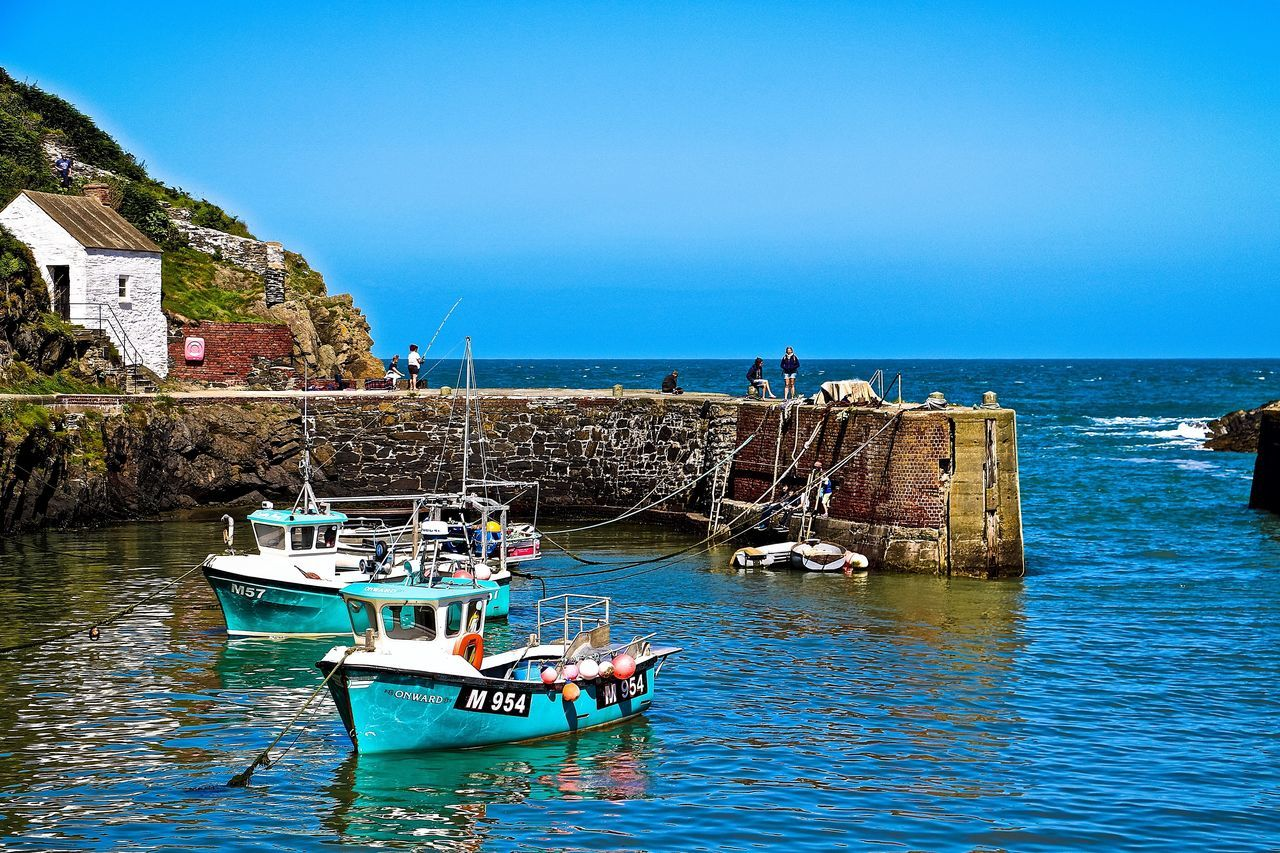 Blue Boat Clear Sky Horizon Over Water Horizontal Nautical Vessel Pembrokeshire Pembrokeshire Coast Porthgain Harbour Sea Sky Transportation Wales Wales You Beauty Wales❤ Water Waterfront