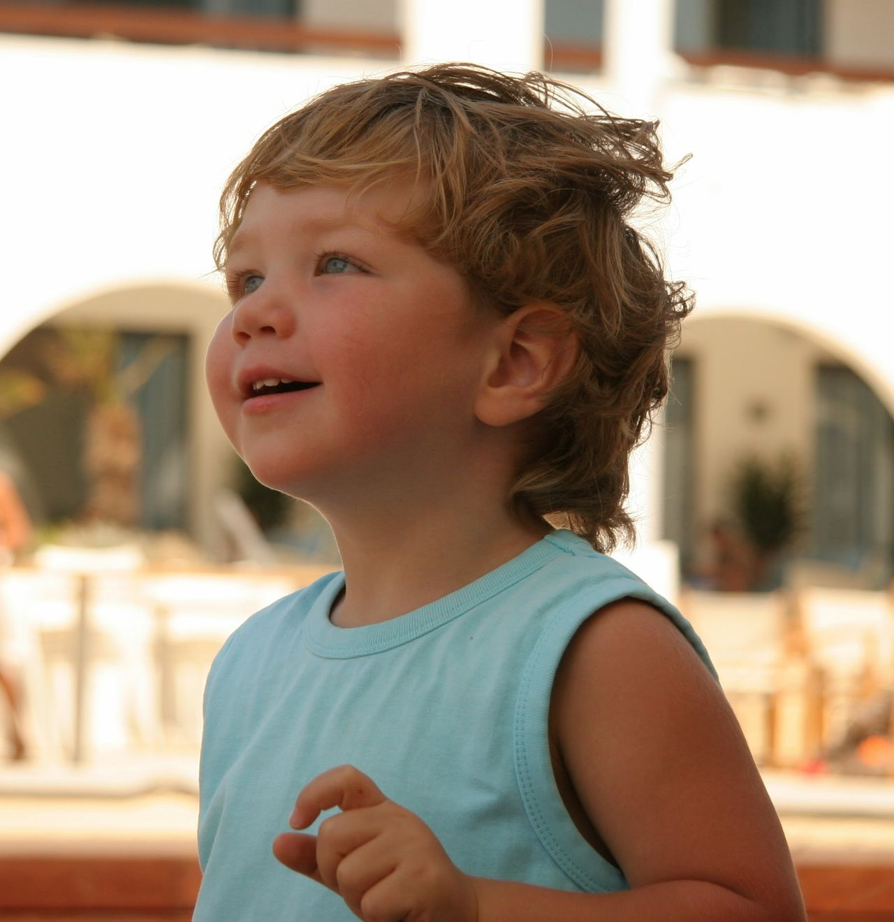 Blond Hair Blue Eyes Casual Clothing Child Childhood Children Only Close-up Day Enjoying Life Focus On Foreground Gaze Happiness Headshot Joy Life Looking Into The Future Lookingup One Person Outdoors People Real People Serenity Smiling Summertime Suntan EyeEmNewHere