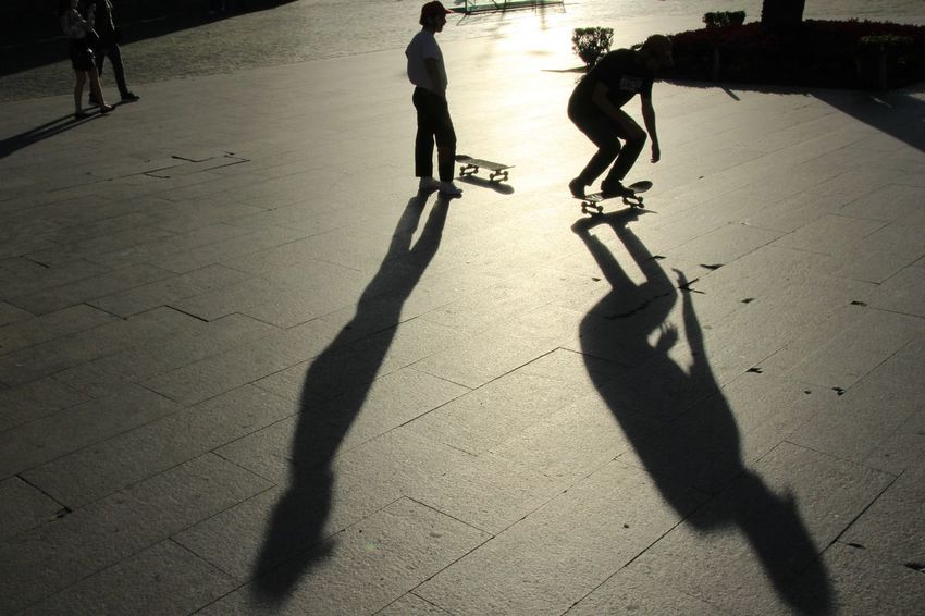 Shadow Sunlight High Angle View Outdoors Silhouette Day Sport Lifestyles Skateboard Park Light And Shadows Photographing Amazing View EyeEm Best Shots Tadaa Community City Europe Young Adult Skater Boy
