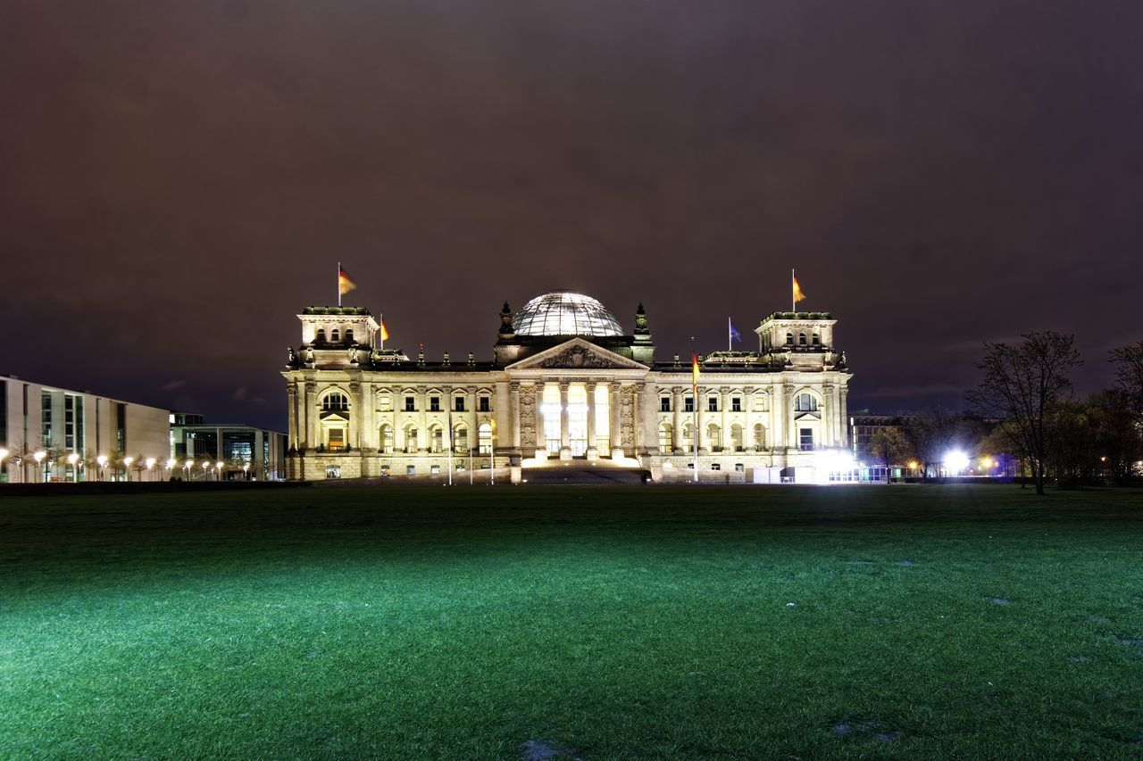 architecture, building exterior, night, illuminated, built structure, travel destinations, history, tourism, dome, outdoors, travel, grass, sky, no people, nature