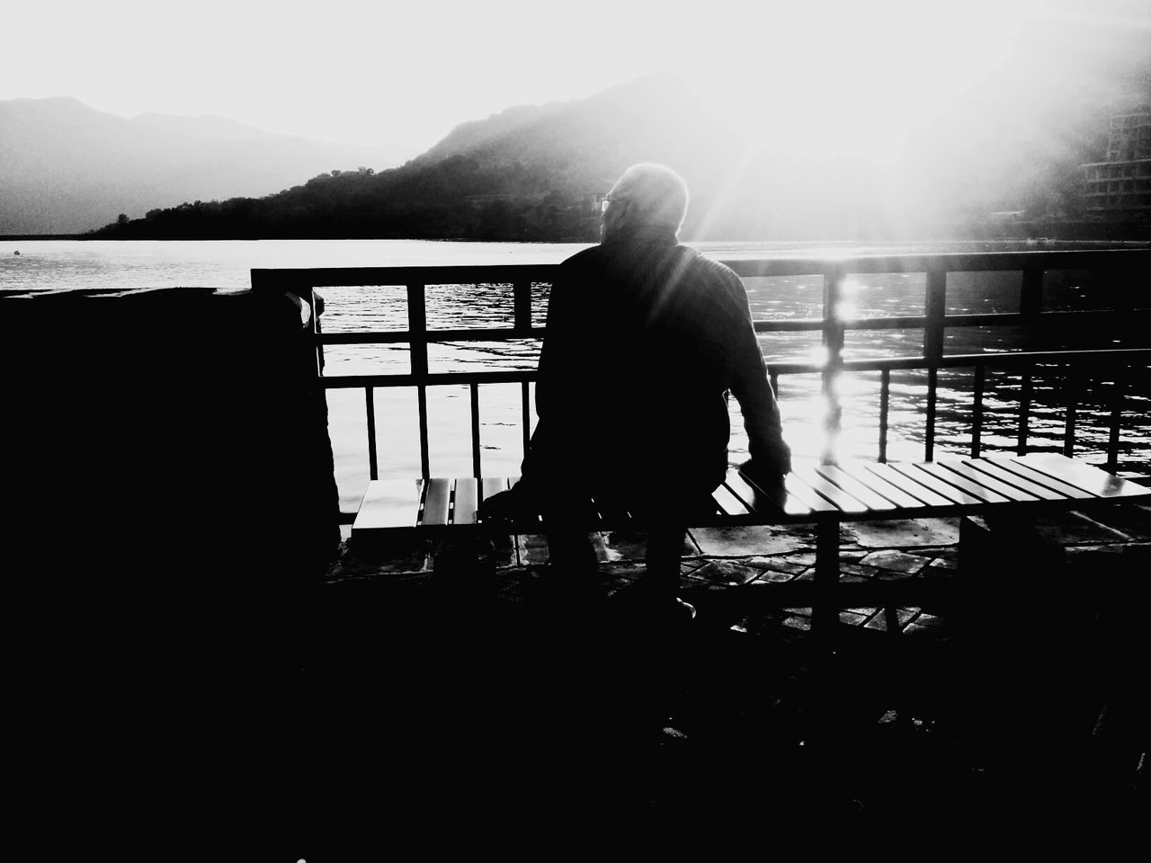 Lovely Weather Black And White Photography Light And Shadow Water_collection Lakeside Eve People Photography Monochrome Mobile Photography dad, ever the pillar of strength...