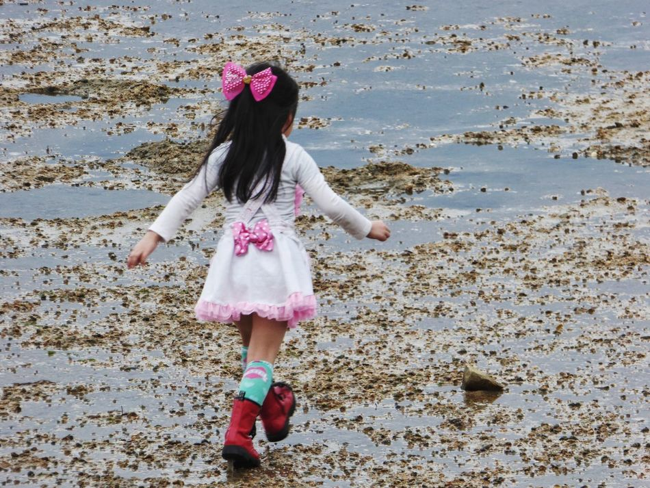 Pink Childhood Beach One Girl Only Child All Dressed Up At The Beach Confidence  Freshness Long Hair On The Move
