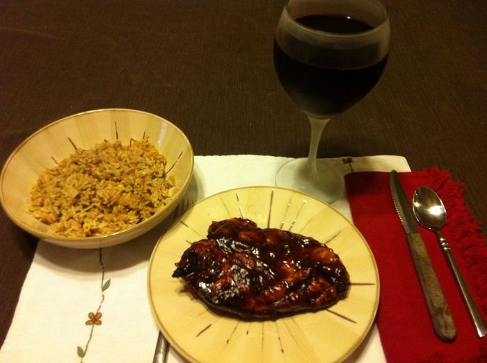 BBQ Chicken Breast with a side of long grain & wild rice, served with a glass of my homemade Italian wine ICanCookMyAssOff Nomnombomb ExpensiveWinos TheVille
