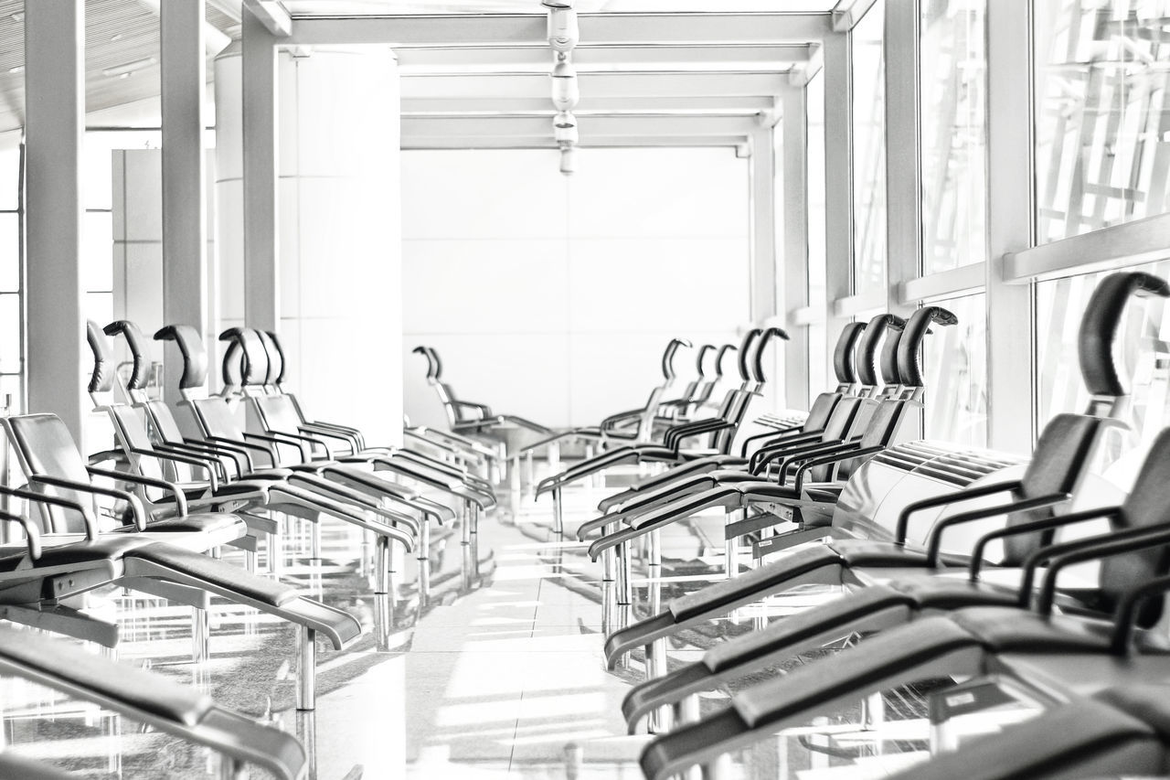 Beautiful stock photos of airport, Absence, Architecture, Chair, Day