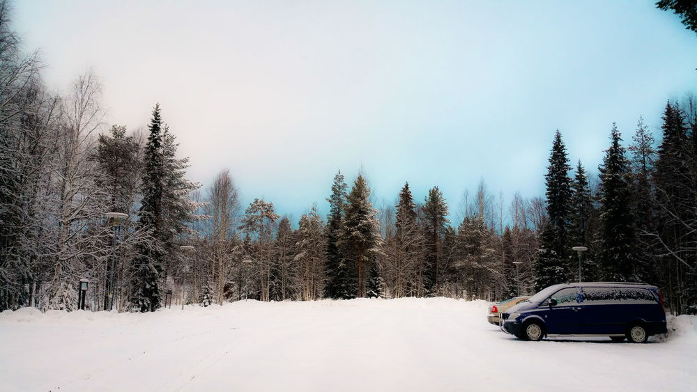 Cars Clear Sky Lapland, Finland Shades Of Blue Snow Trees Viewpoint Winter EyeEm Nature Lover EyeEm Best Shots - Nature Blue And White Sky Samsung Galaxy Note 4