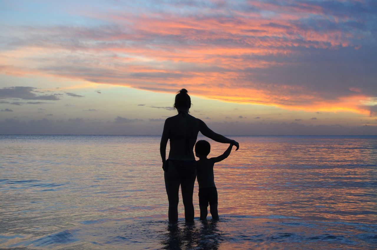 Beach Beauty In Nature Calm Sea Caribbean Caribbean Sea Caribbean Sunset Corn Island Dramatic Sky Horizon Over Water Mother And Child Mother And Son Nature Nicaragua Rear View Sea Silhouette Sky Sunset Tranquility Water