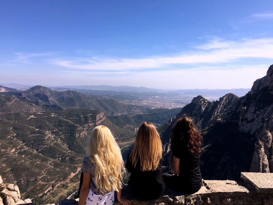 on the edge of the world Three Girls Mountain Sky Beauty In Nature Friendship Vacations Happiness Nature Monesteir De Monserrat