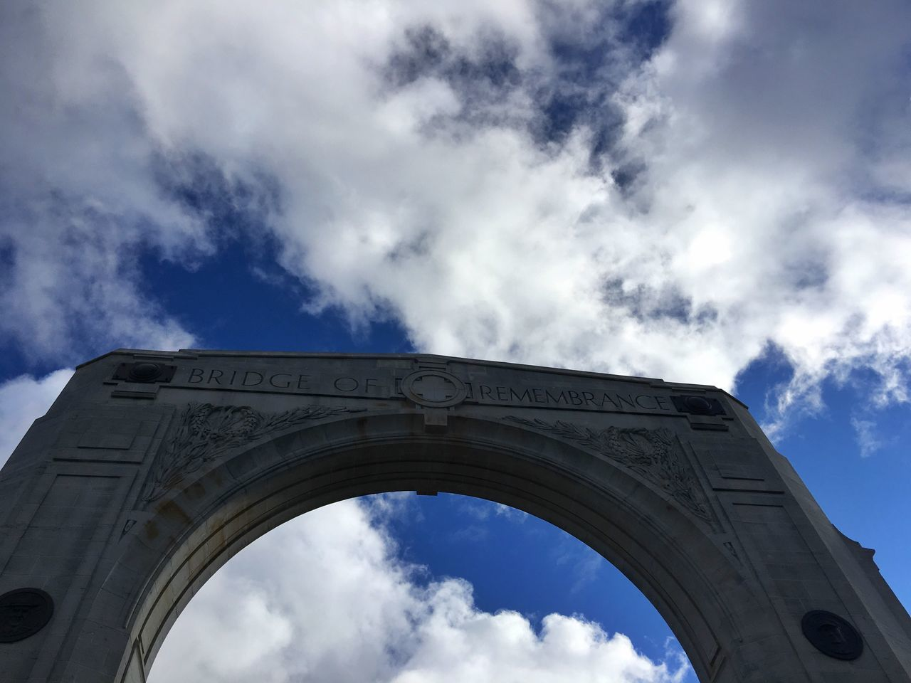An archway on the bridge of remembrance Bridge Bridge Arch Bridge Of Remembrance War Memorial Blue Sky