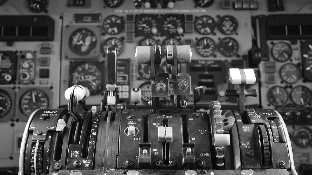 No People Indoors  Close-up Gear Day Mother Board Md-82 Cockpit Break The Mold Old Old-fashioned Aircraft Black And White Black And White Photography Break The Mold BYOPaper! Let's Go. Together.