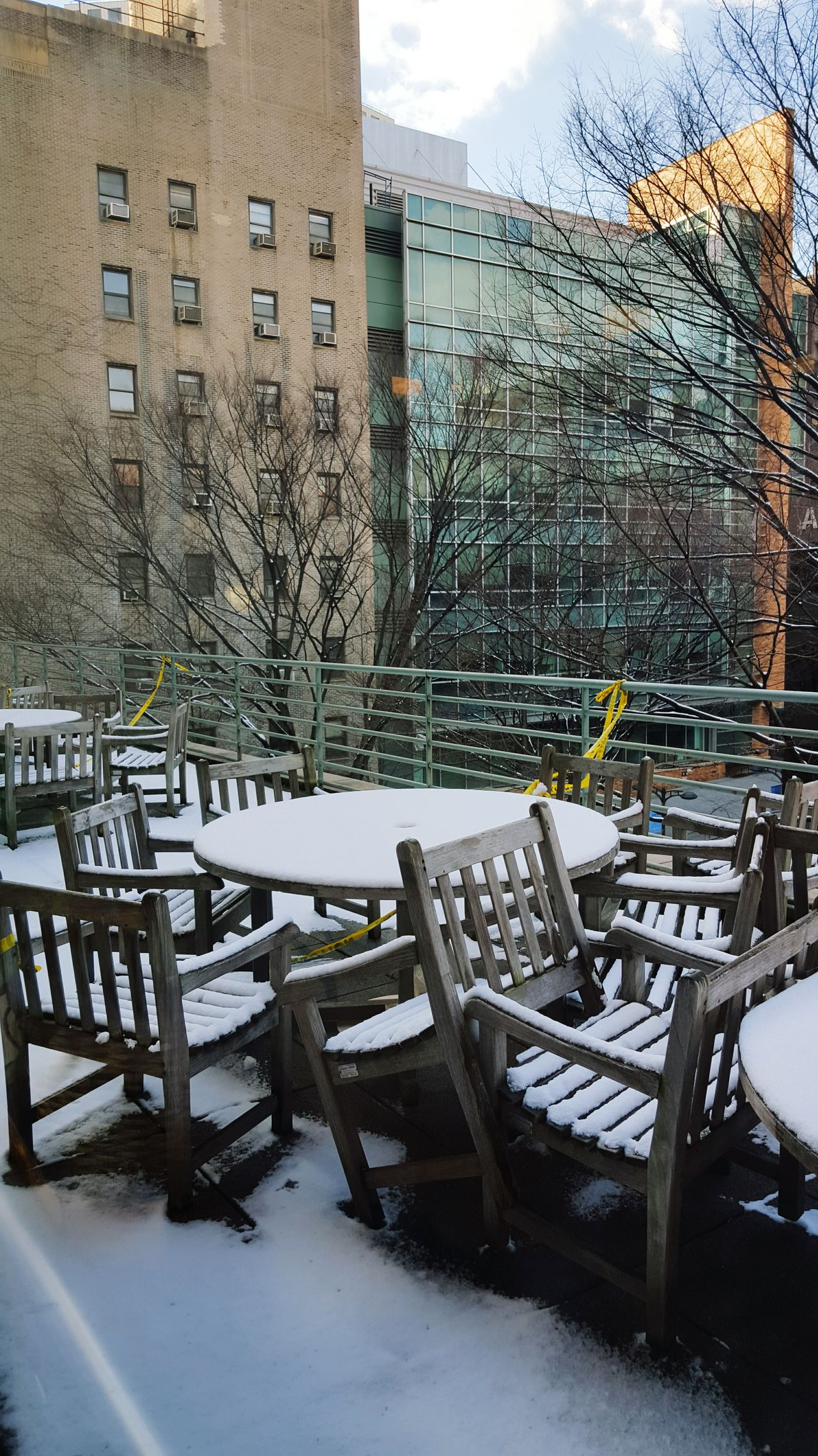 LIUBrooklyn Downtown Brooklyn Snow Table Balcony Winter