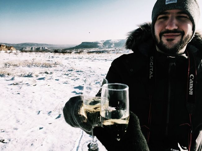 Champagne in subzero temperatures! Subzero Champagne Celebrations Turkey Cappadocia Travel Travelling