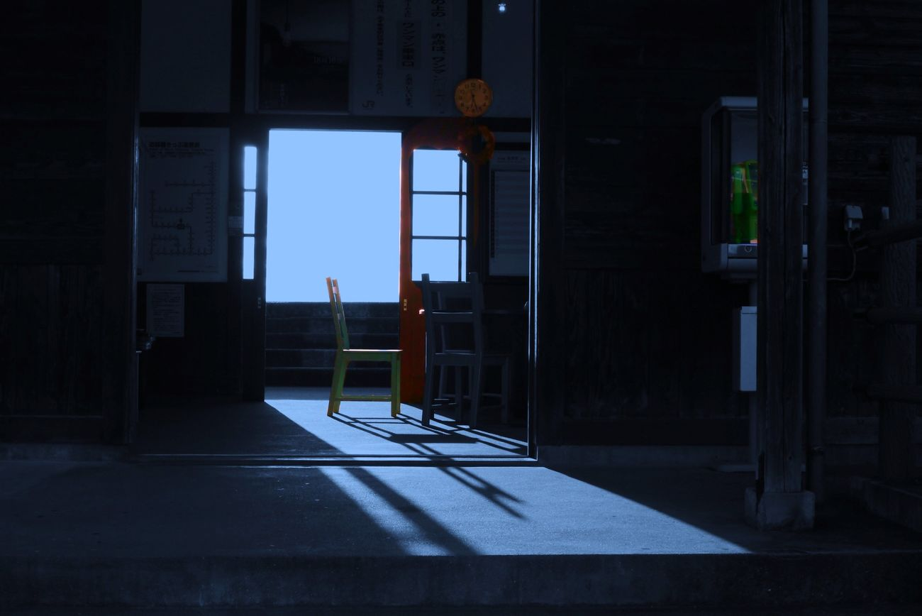 Eki - Station - II : Daydream Light And Shadow Blue Tone Waiting For A Train A Frame Within A Frame Black And White Somewhere Nagasaki prefecture JR Kyushu Japan Scenery
