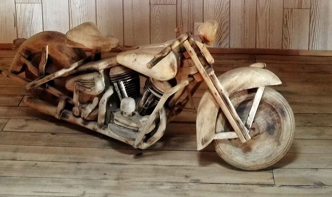 Wood - Material No People Hardwood Floor Rustic Indoors  Repair Shop Close-up Funny Bike Wooden Bike