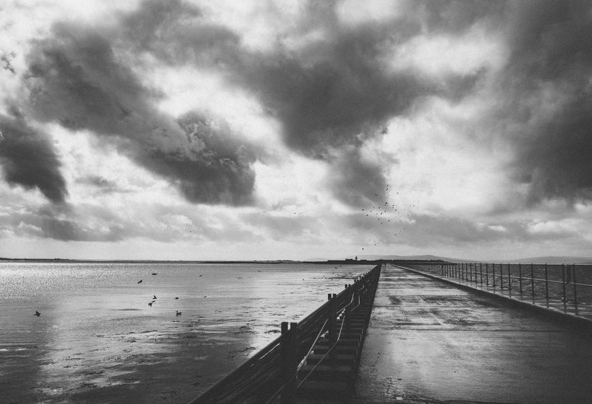 Beach Beauty In Nature Birds Blackandwhite Bridge Cloud - Sky Day Galway,ireland Horizon Over Water Ireland Mutton Island Nature No People Outdoors Rainy Scenics Sea Sky Storm Cloud Stormy Weather Tranquil Scene Tranquility Water Wet