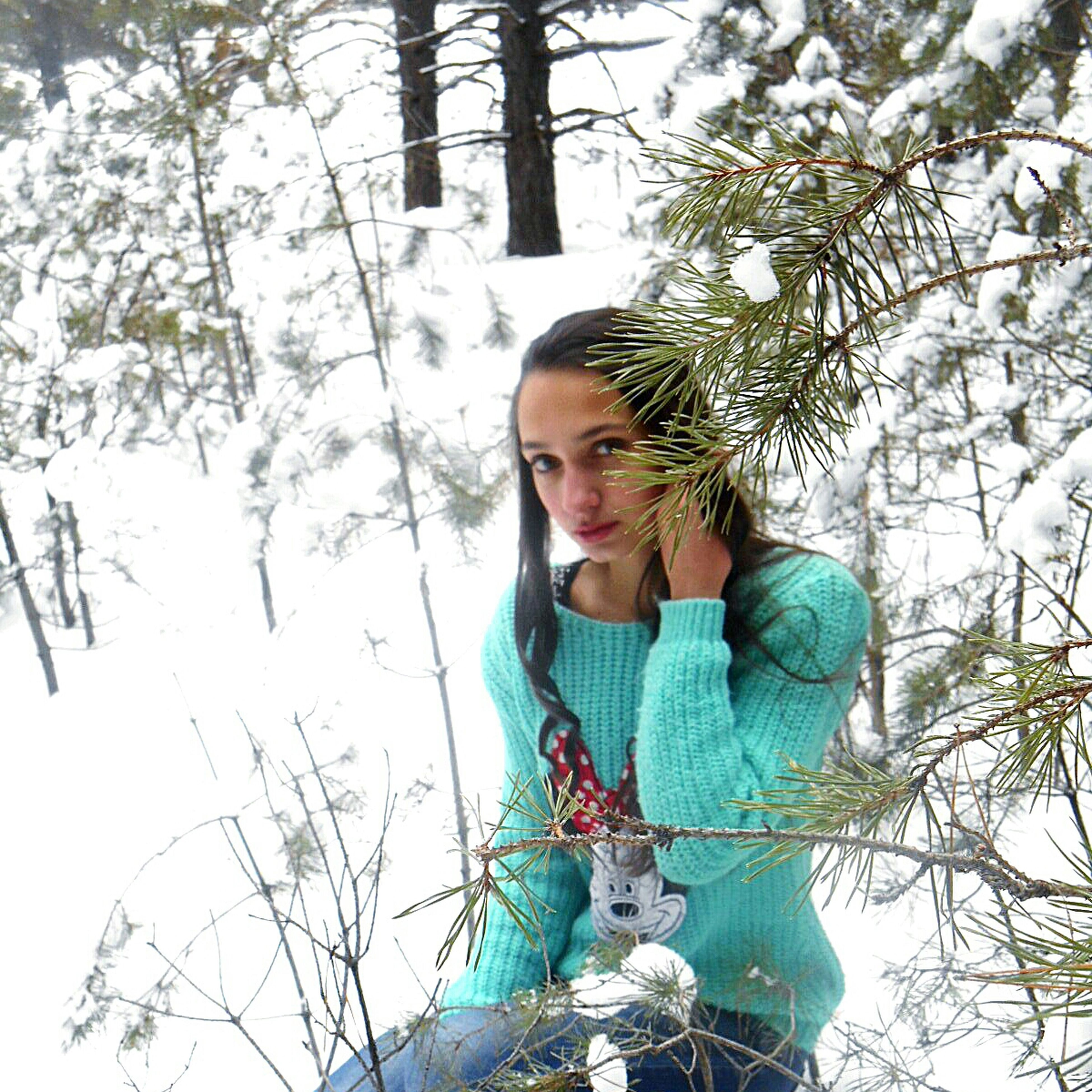 contemplation, tree, young adult, one person, long hair, portrait, beauty, one woman only, leisure activity, cold temperature, young women, adults only, only women, lifestyles, day, beautiful woman, people, outdoors, winter, nature, adult, snow, one young woman only, human body part