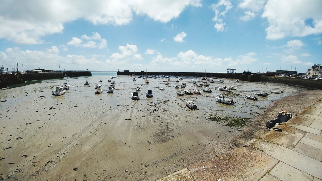 Sky Cloud - Sky Day Beach Outdoors Nature Sand Low Tide Port Ships Normandie