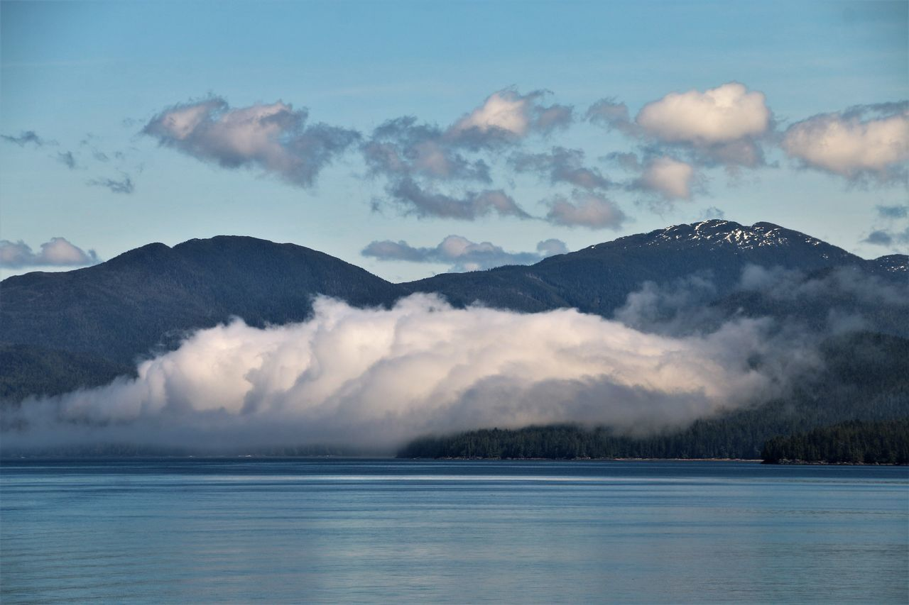 Fog bank in Alaska Fog Bank Beauty In Nature Cloud - Sky Day Fog Over Water Mountain Mountain Range Nature No People Ocean Outdoors Scenics Sky Tranquil Scene Tranquility Water Waterfront