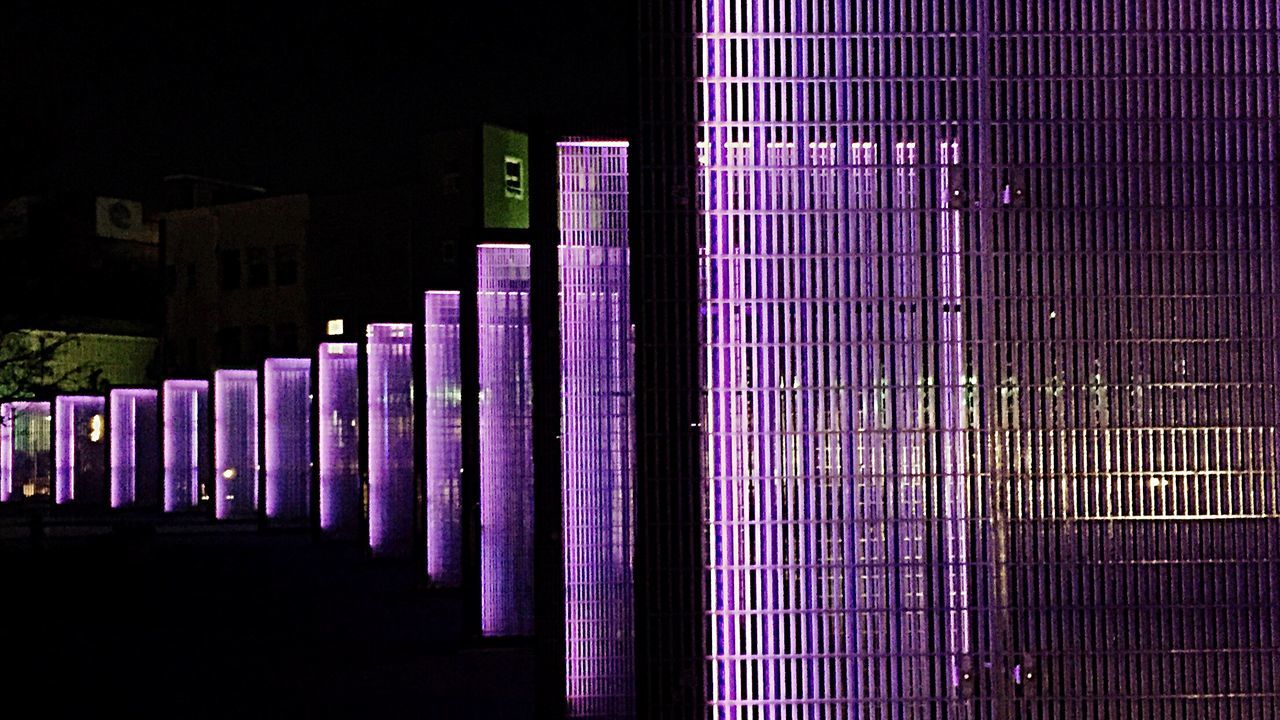 purple, illuminated, night, architecture, built structure, indoors, no people