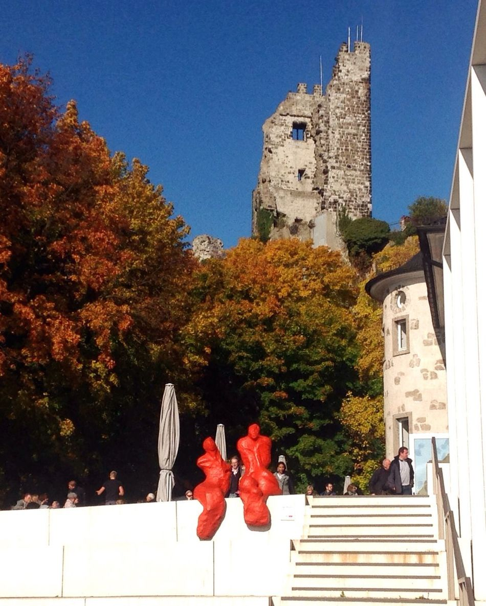 Drachenfels Siebengebirge Tree Modern Architecture Modern Vs Old Old Wall Modernism Modern Art Germany Architecture Building Exterior Built Structure Steps Church Blue Railing Outdoors Day Footpath Culture Arch Local Landmark
