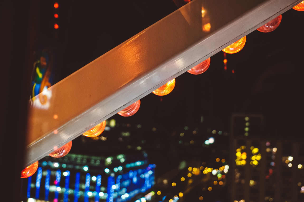 illuminated, night, lighting equipment, low angle view, no people, close-up, neon, outdoors