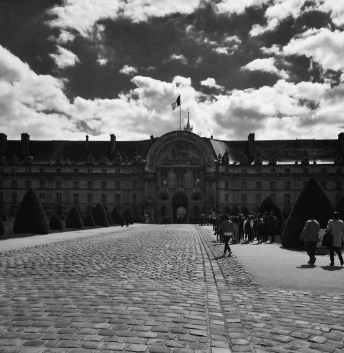 Paris Clouds And Sky Invalides  Blackandwhite Travel Garden