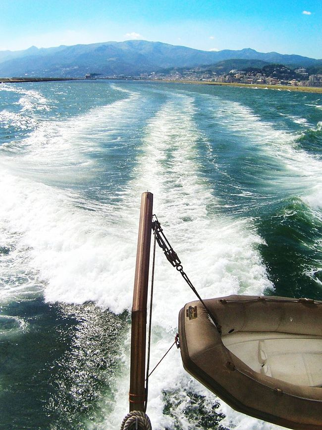 """On the road"". Sea Liguria Boat Ride Mare Sea View Eyeemfilter F3 at max Sea And Mountain Marine Water Foam Trail"