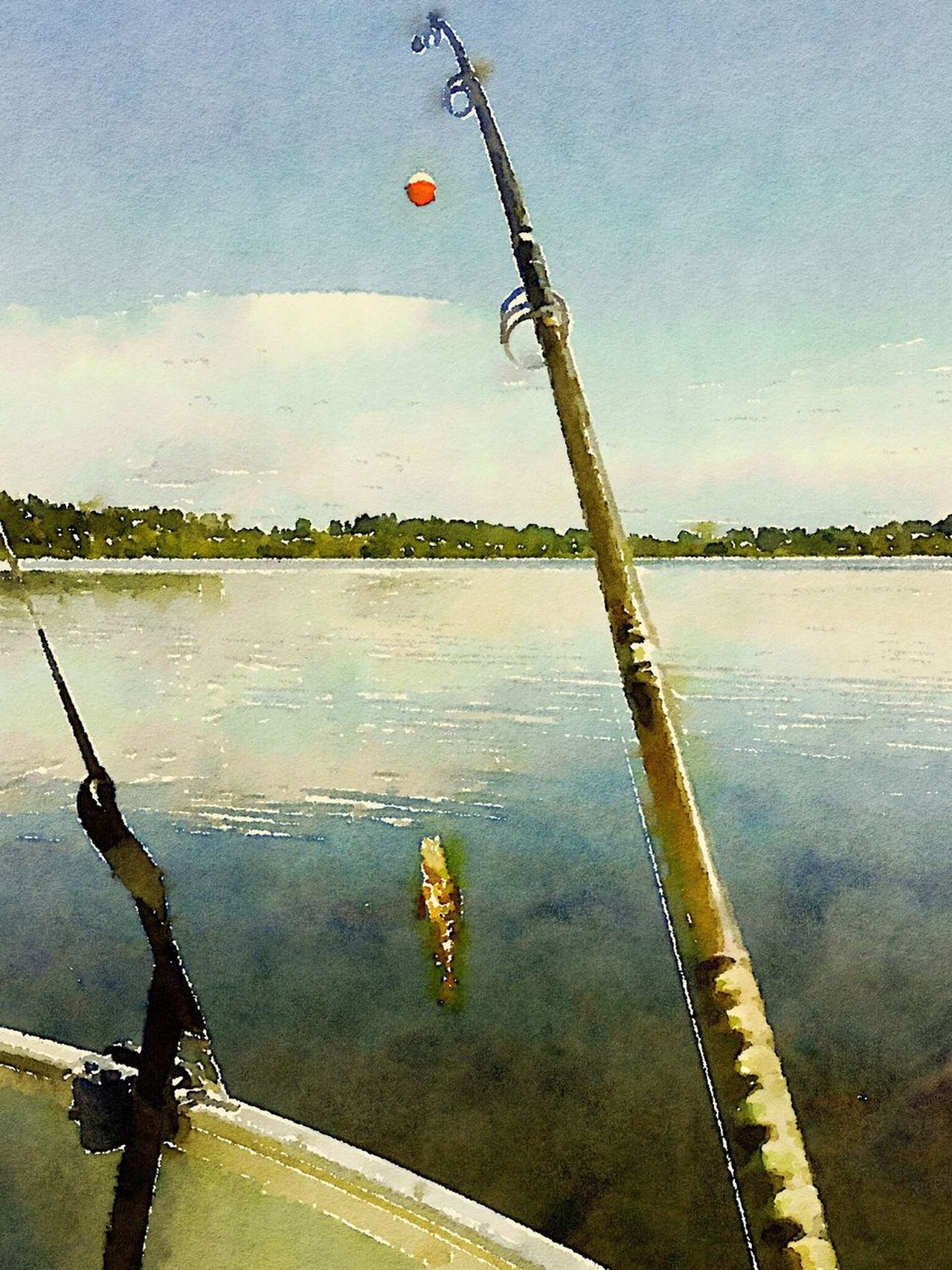 Reflection Water Sky Lake Outdoors Nautical Vessel Nature Fish Fishing Fishing Pole Tree Line Trees Painting Art
